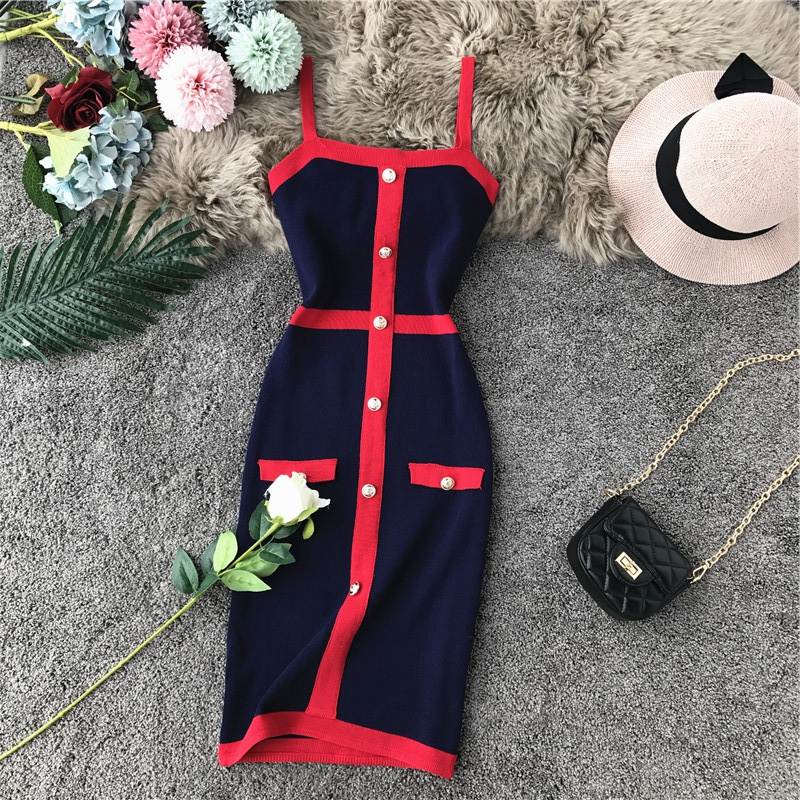 Amolapha Women Block Color Single Breasted Slim Stretchy Knit Tank Dresses Sexy Woman Button Straight Knitting Dress Vestidoes