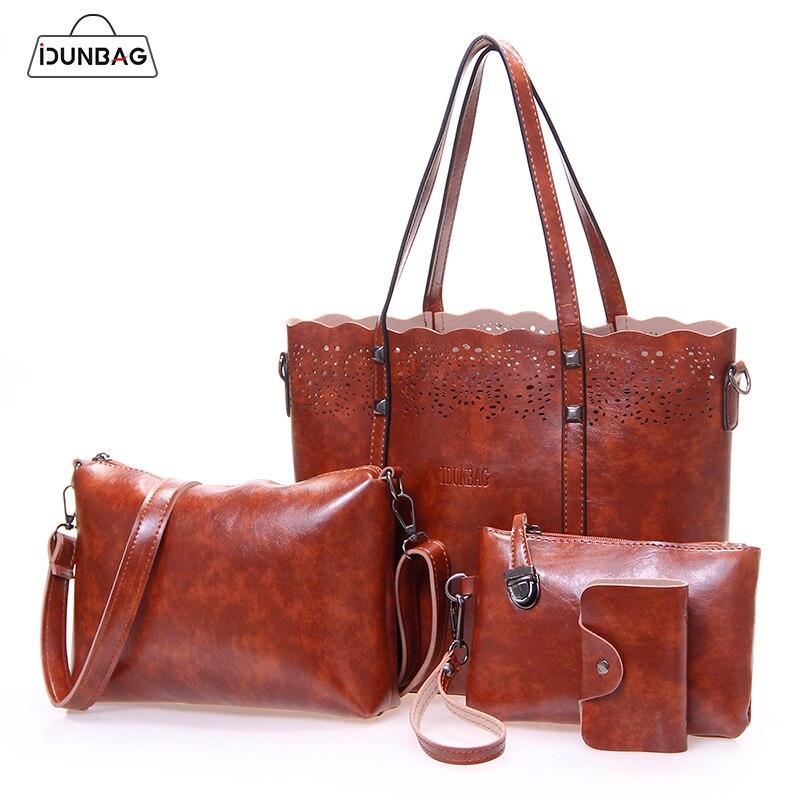 4 piezas ahuecan hacia fuera el conjunto de bolsos de mujer de moda bolso de cuero de Pu bolsos de hombro de mujer + bandolera + bolso de embrague