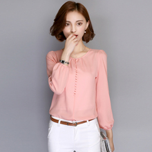 Women Blouses Plus Size 2017 Spring Autumn Chiffon Blouse Shirt Casual Loose Elegant Ladies Blusas Tops White Pink Red