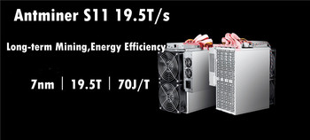 Used AntMiner S11 19.5T With PSU Bitcoin BTC BCH Miner Better Than S9 S9i S9j T15 Z9 WhatsMiner M3 M3X M10