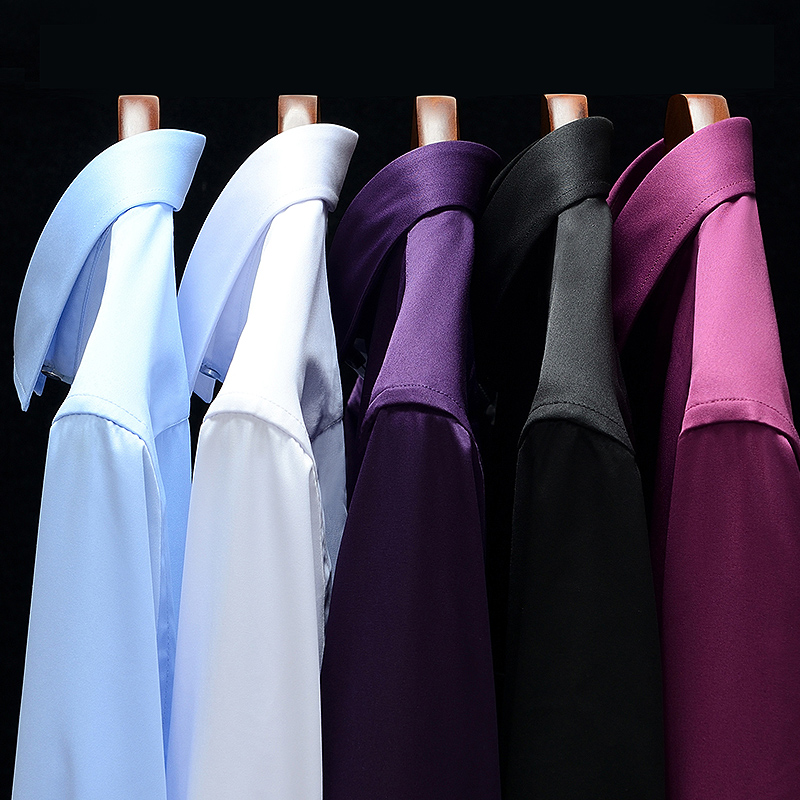 Tops Sell Pure Color Casual Business Slim Fit Long Sleeve Dress Shirts For Social Work Navy Blue Dark Green Red Purple Camisa