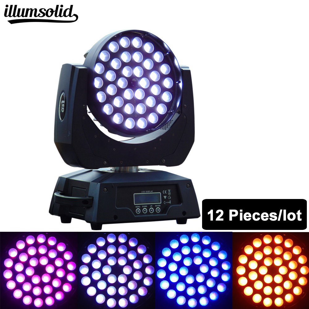 12pcs/Lot disco dj lighting zoom wash 36*12W RGBW 4in1/6in1 led color mixing moving head