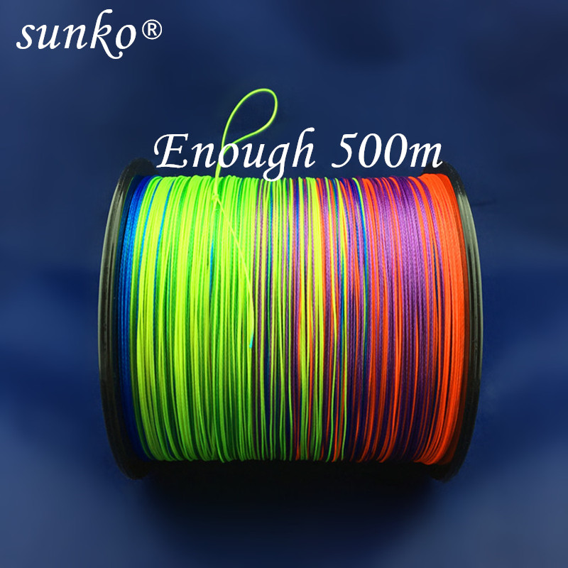 8strands 500M SUNKO Brand Japanese Multifilament PE Material colorful Braided Fishing Line18 30 40 50 60