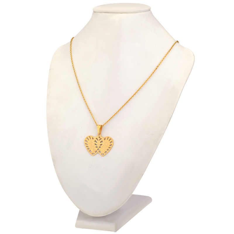 SOITIS Paslanmaz Çelik Küpe ve Kolye takı seti Altın Rengi Madde Çift Kalp Tasarım Bildirimi Kadınlar için Setleri
