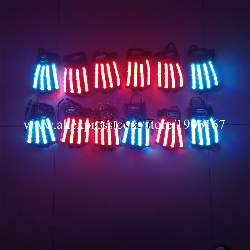 One Pair Super Bright Colorful Led Luminous Gloves Stage Show Props LED RGB Light Up Gloves Glow Party Supplies