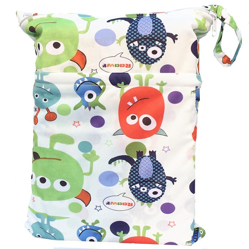 [Sigzagor] 1 Влажная сухая сумка с двумя молниями для детских подгузников, водонепроницаемая сумка для подгузников, розничная и, 36 см x 29 см, на выбор 1000 - Цвет: W46 monster