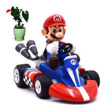 4 Anime Super Mario Bros Kart Pull Back Car Mario PVC Action Figure Doll Collectible Model Toy Christmas Gift For Children play arts kai street fighter iv 4 gouki akuma pvc action figure collectible model toy 24 cm kt3503