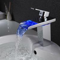 3 Màu Sắc thay đổi phòng tắm nước lưu vực vòi nước mixer tap, lỗ duy nhất LED lưu vực đèn vòi, Chrome mạ thác basin vòi