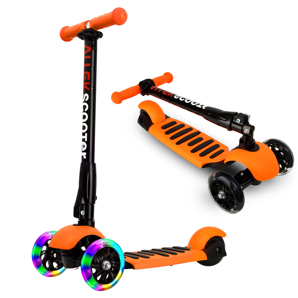Orange Scooters Allek Foot Kick Scooter Folding 3 Wheels with LED Light Up T-bars for Kids