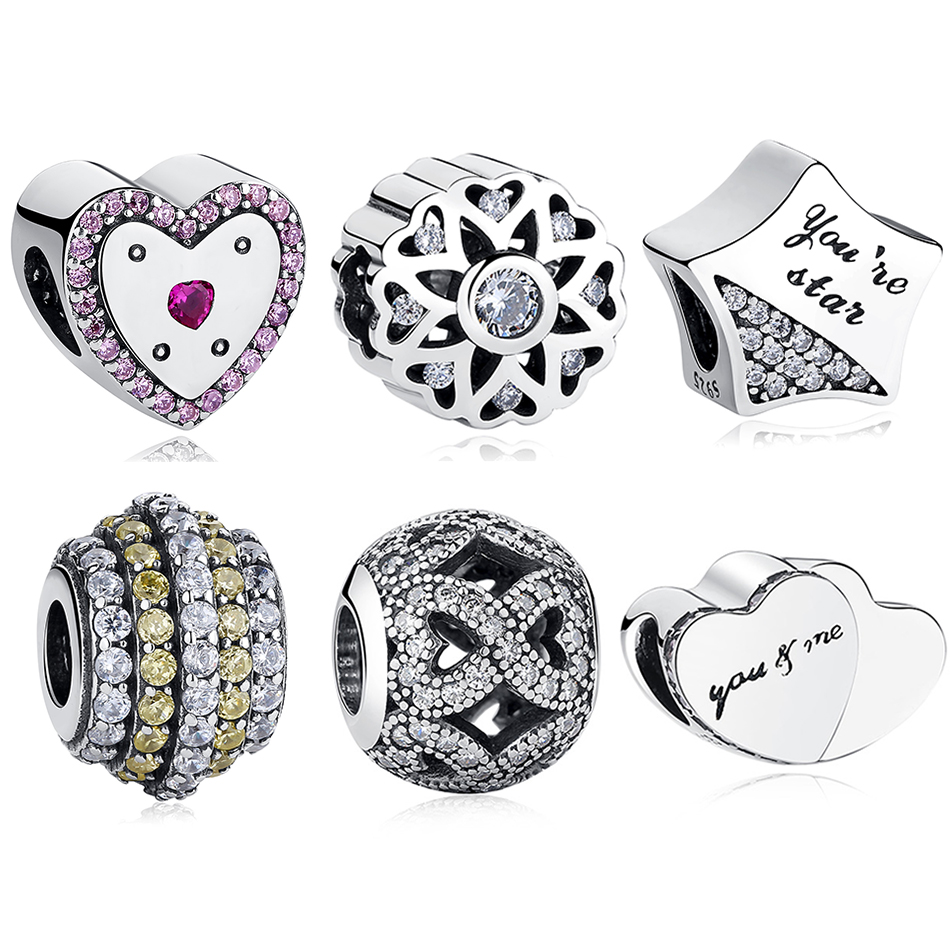 2018 Silver Charms Beads Fit Pandora Charm Bracelets Silver 925 Original Mother Heart Star Infinity Charms Fashion Jewelry