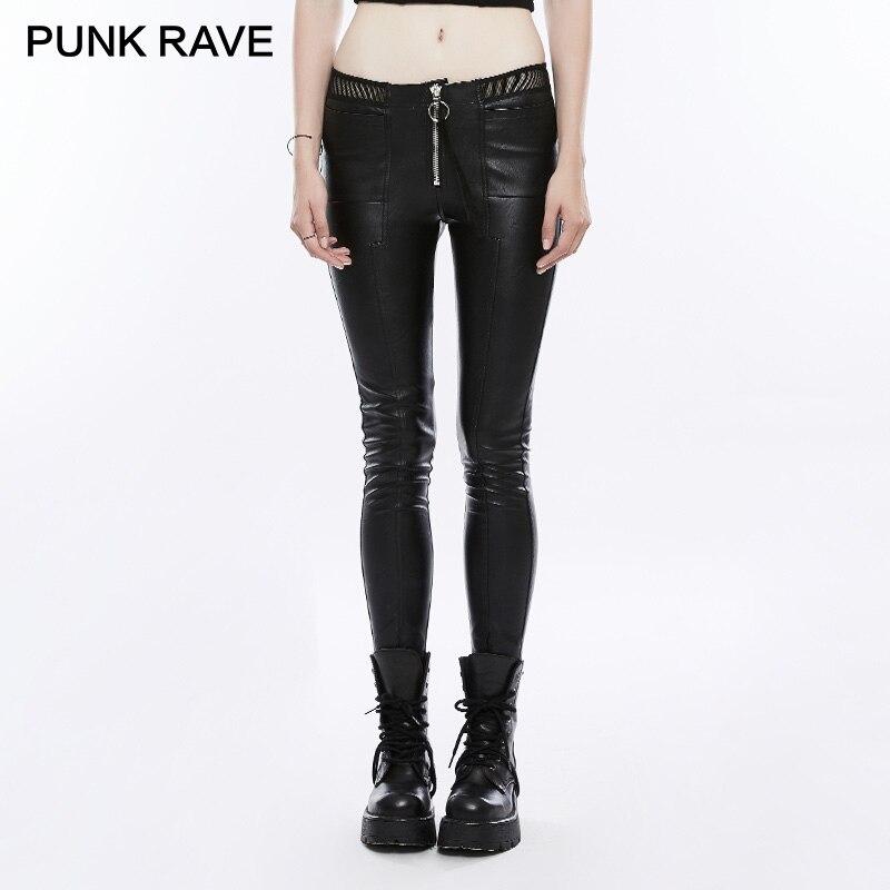 PUNK RAVE Rock dames noir élastique PU cuir pantalon couture minimaliste résille dentelle taille basse Skinny femmes crayon pantalon
