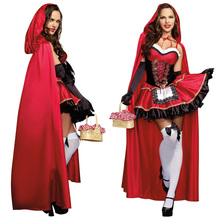 Fairy Tale Storybook Little Red Riding Hood Costume Fantasia Halloween Cosplay Fancy Dress Long Cape