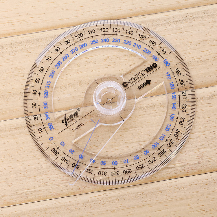 Newest Portable Diameter Of 10cm Plastic 360 Degree Pointer Protractor Ruler Angle Finder Swing Arm For School Office Supplies