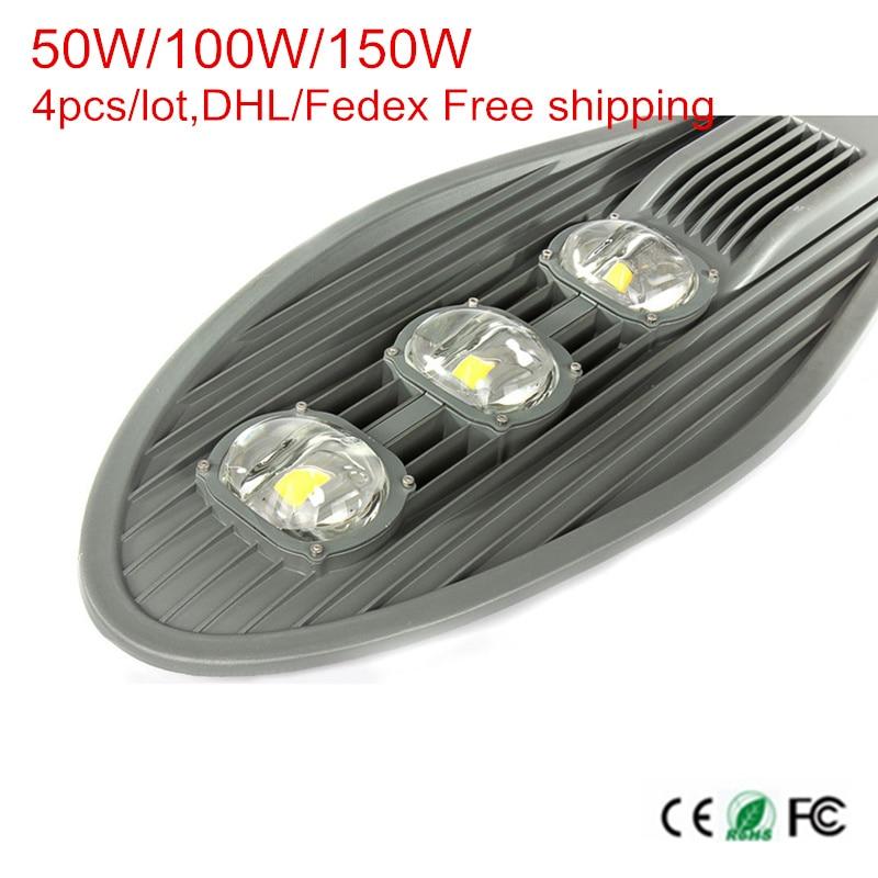 High Power COB Led Street Lights 50W 100W 150W Led Outdoor Lighting AC85-265V Warm/Natural/Cold White 4pcs/lot,DHL Free ship цена