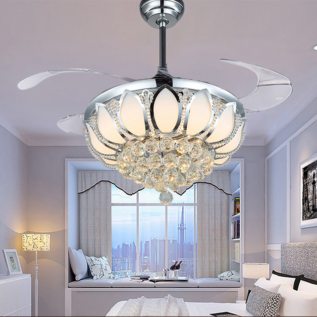 Luxury folding ceiling fan Dining Room Chrome Gold Crystal Lamp with fan with remote control