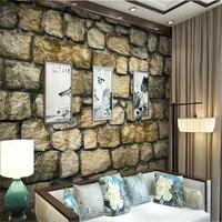 Custom Deep Embossed 3D Brick Mural Vintage Wallpaper Roll Brown Culture Stone Wallpapers For Living Room