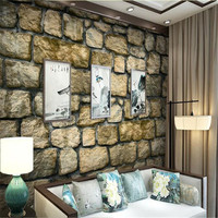Custom Deep Embossed 3D Brick Mural Vintage Wallpaper Roll Brown Culture Stone Wallpapers For Living Room