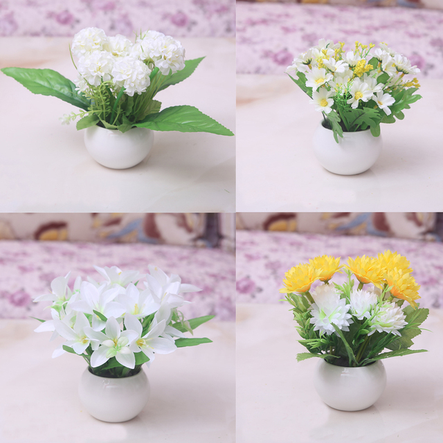 One Set Artificial Flower +Vase Plastic Flower And Round Vase Table Mini Potted Flowers Home Party Decorative Flower Bonsai & One Set Artificial Flower +Vase Plastic Flower And Round Vase Table ...
