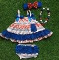 2016 frete grátis verão meninas conjuntos roupa do bebê de luxo marinha bule vermelho asteca balanço combinação e arco