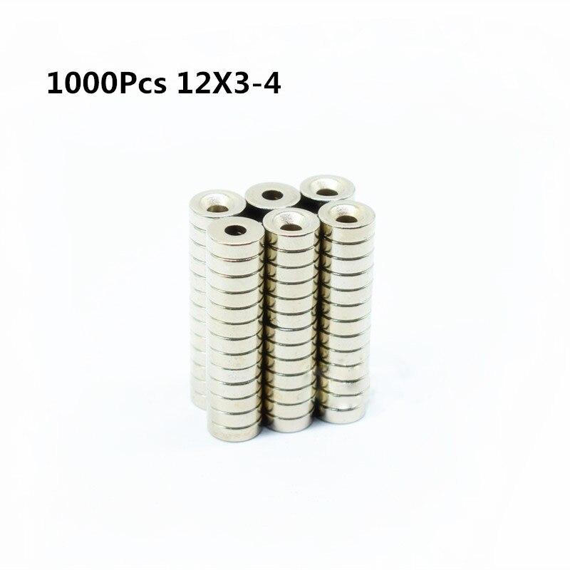 1000 pcs 12x3-4mm Ronde Fraisée Anneau Aimant 12mm x 3mm Trou 4mm Rare Earth Néodyme Aimant 12*3-4