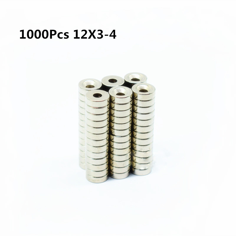 1000 pz 12x3-4mm Rotonda Svasata Magnete Ad Anello 12mm x 3mm Foro 4mm Terra Rara Magnete Al Neodimio 12*3-4