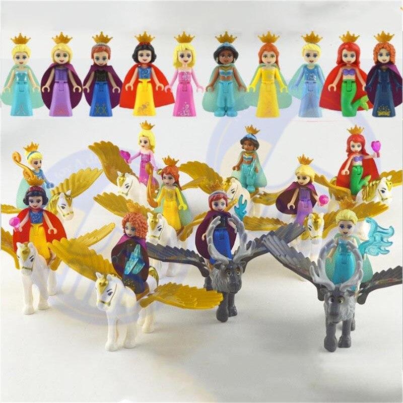 5-8Pcs Princess Girl White Snow Tinker Bell Fairy Tale Mermaid Anna Elsa Belle Flying Horse Building Blocks Children Gift Toys