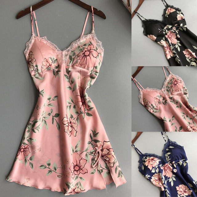 c35491fed697 Womens Spaghetti Strap Satin Nightgown Nightwear V-Neck Sleepwear Lady  Floral Print Nightdress Women Sexy Lace Silk Night Dress