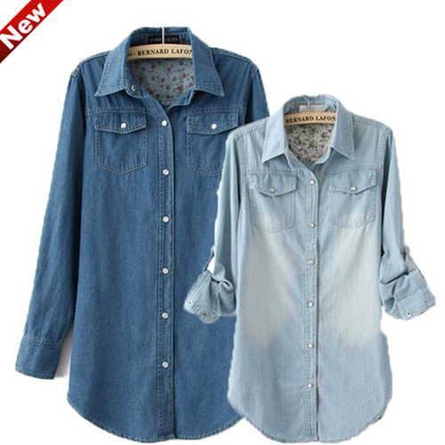 15d420eea2 Women Lady Girl Retro vintage Long Sleeve Blue Jean Denim Shirt Tops Blouse  0038
