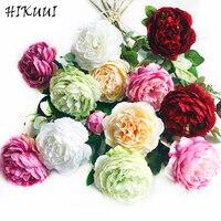 6 stks/partij Real Touch rose Pioen Bloemen Bruiloft Decoratie Bruidsboeket Bloem Woondecoratie Nieuwe Kunstbloemen 6 Kleuren