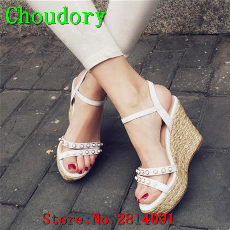 Choudory Platform Super High Heels Wedges Shoes For Women Ankle Strap PU Sweet New Women Rhinestone Sandals Summer Casual  Shoes