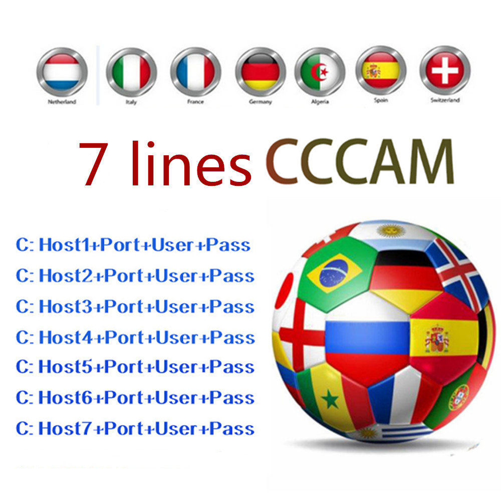 2019 Newest Fast Stable Europe 7 lines Cccam For 1 Year Spain Portugal  Satellite Share Server Support DVB-S2 Satellite Receiver