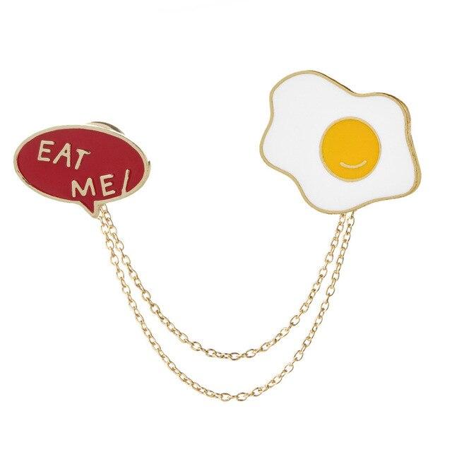 Perfect 2Pcs Enamel Brooch For Women Cute Egg Letter Eat Me Brooch Pins Chain Shirt  Lapel Pin