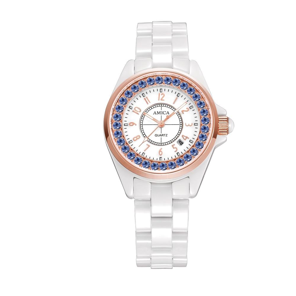 Amica Women's D-Ceramics Quartz Sapphire Silver Tone Stainless Steel Wrist Watches A5-6 amica women s d ceramics quartz sapphire silver tone stainless steel wrist watches a 1 5