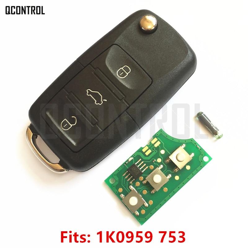 QCONTROL Car Remote Key DIY for VW/VOLKSWAGEN CADDY/EOS/GOLF/JETTA/SIROCCO/TIGUAN/TOURAN 1K0959753/5FA008749-10 with ID48 Chip