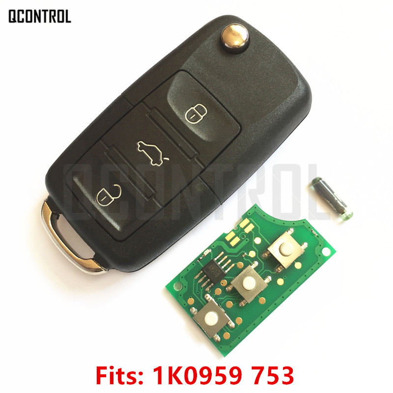 QCONTROL Car Remote Key DIY for VW/VOLKSWAGEN CADDY/EOS/GOLF/JETTA/SIROCCO/TIGUAN/TOURAN 1K0959753/5FA008749-10 with ID48 Chip