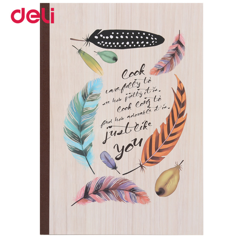 Deli feather Cute Stationery Notebooks for students kawaii notebooks school & Office Supplies sketchbook A5 60 sheets notebook