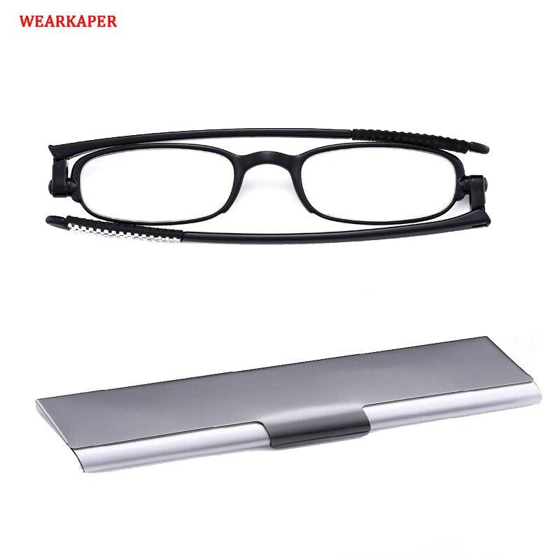 Wearkaper ultra leve rotação de 360 graus dobrável óculos de leitura das mulheres dos homens magro quadro dobrável presbiopia + 1.0 a 4.0