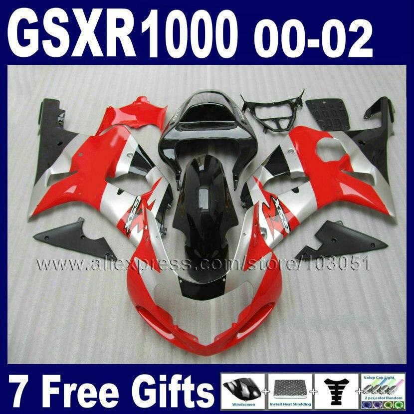 Custom Injection Fairings parts for SUZUKI GSXR1000 K2 01 00 02 GSX R1000 2002 GSXR 1000 2001 2000 red silver fairing bodykit
