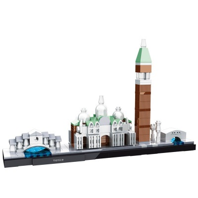 HSANHE Architecture City Venice Skyline Collection Model Building Blocks Sets Bricks Classic Kids Gifts Toys Compatible Legoings loz mini diamond block world famous architecture financial center swfc shangha china city nanoblock model brick educational toys
