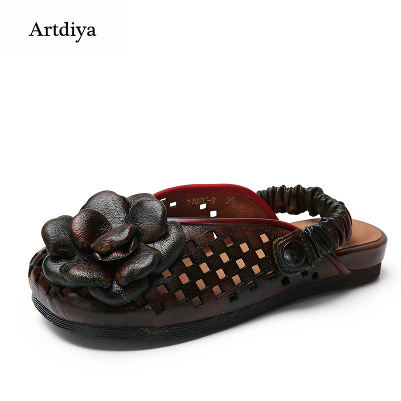 Фотография Artdiya 2018 New Women Shoes Spring and Summer Sandals Genuine Leather Retro Flowers Hollow Out Shoes 5197C-9
