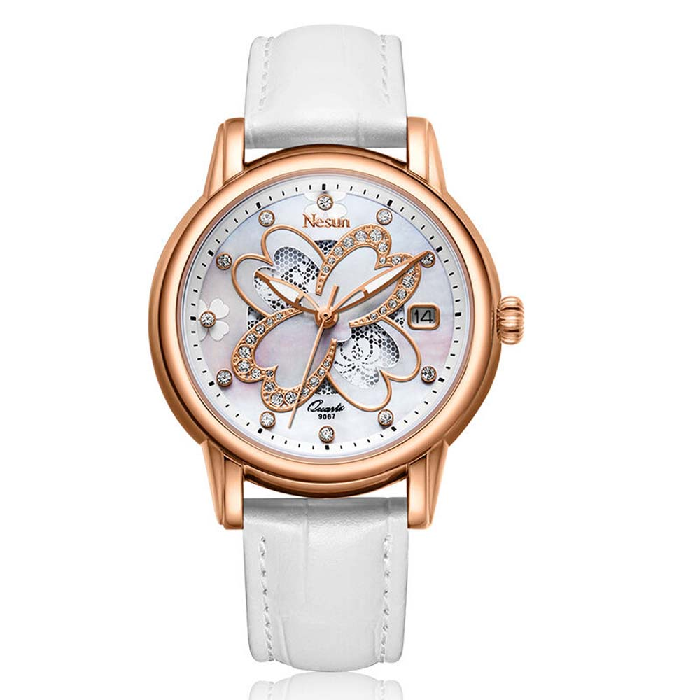 NESUN Fashionable Women Quartz Wristwatch With Diamond With Genuine Leather & Stainless Steel Watch Band цена