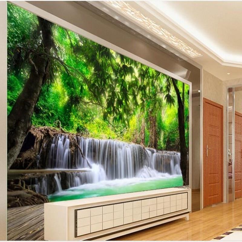 8 09 41 De Réduction Wellyu Personnalisé Grande Fresque Planche De Bois Forêt Cascade Paysage Naturel Tv Toile De Fond Papier Peint Pour Murs 3 D In