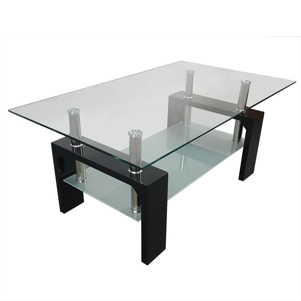 Clear Glass Coffee Table Rectangle 2 Layer Tea Table Living Room Furniture Hot Sale