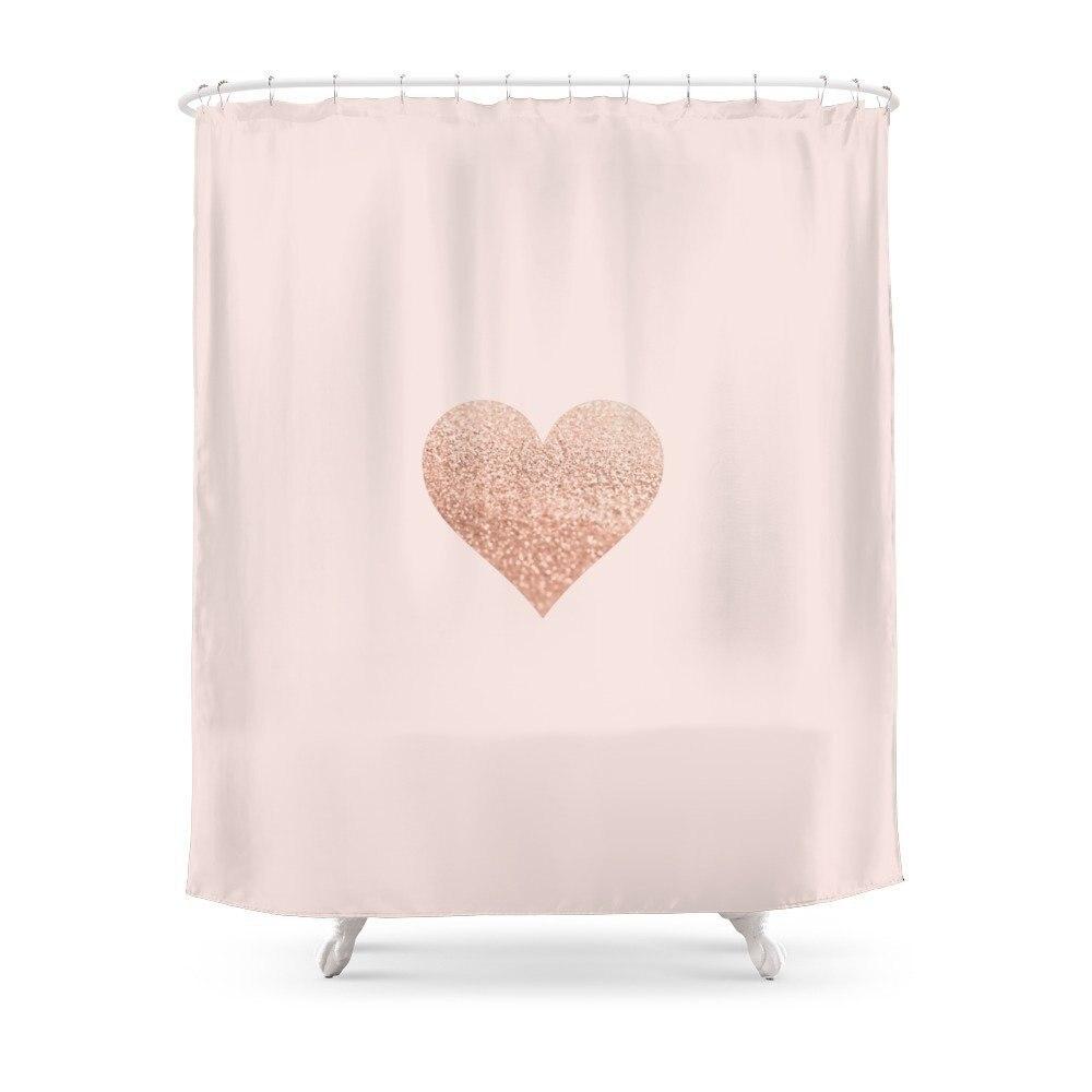 ROSEGOLD HEART BLUSH Shower Curtain Custom Curtain For Bathroom Waterproof Polyester