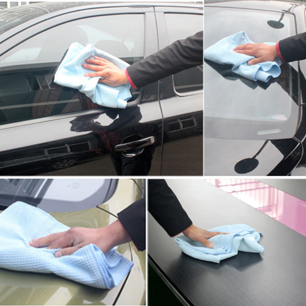 Useful! 2016 New High Quality Car Drying Towel Blue Waffle Weave Microfibre 60 x 80cm ...
