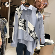 DEAT 2019 new turn-down collar full sleeves inks printed single breasted asymmetrical shirt female blouse WG72605