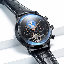 цены Brand Men Watches Automatic Mechanical Watch Tourbillon Sport Clock Leather Casual Business Retro Wristwatch Relojes Hombre