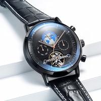 Brand Men Watches Automatic Mechanical Watch Tourbillon Sport Clock Leather Casual Business Retro Wristwatch Relojes Hombre