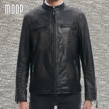 Black genuine leather jacket coat men washed vintage cowskin leather motorcycle jackets zipper cuffs chaqueta moto hombre LT1368