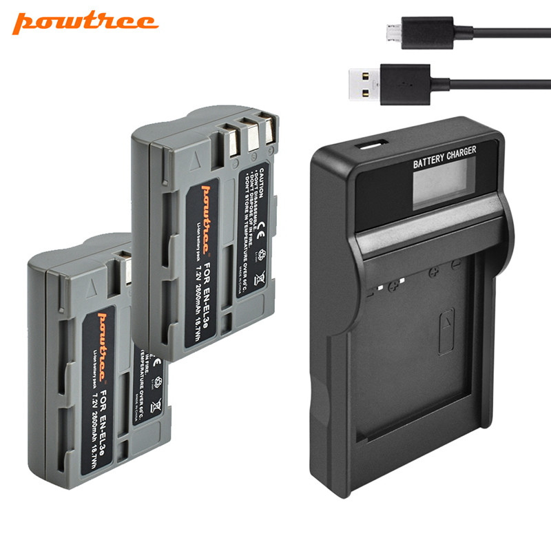 Powtree 2 6Ah For Nikon EN EL3e EN EL3e EL3a ENEL3e Digital Camera Battery USB LCD Charger For Nikon D300S D300 D100 D200 D700 in Digital Batteries from Consumer Electronics